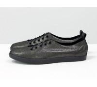 Невероятно-легкие туфли-кеды из натуральной кожи черного цвета с лазерным напылением, Т-17412-17