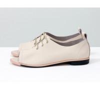 Невероятно легкие туфли с открытым носиком из натуральной кожи розового пастельного цвета на светлой эластичной подошве, Т-17415-03