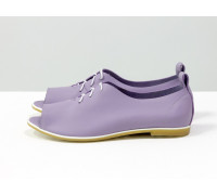 Невероятно легкие туфли с открытым носиком из натуральной кожи нежного лавандового цвета на светлой эластичной подошве, Т-17415-10