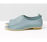Невероятно-легкие туфли с открытым носиком из натуральной кожи темно-голубого цвета на светлой, эластичной подошве, Т-17415-11