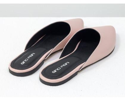 """Бабуши из натуральной кожи розового цвета с контрастным черным подкладом из дорогой кожи """"шевро"""", Т-17428-10"""