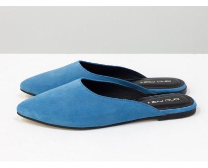 """Мюли из натуральной замши голубого цвета с черным подкладом из дорогой кожи """"шевро"""", Т-17428-14"""