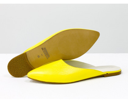"""Бабуши из натуральной кожи желтого цвета, с подкладом из дорогой кожи """"шевро"""", Летняя коллекция от Джино Фиджини, Т-17428-22"""