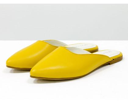 """Бабуши из натуральной кожи желто-горчичного цвета, с подкладом из дорогой кожи """"шевро"""", Летняя коллекция от Джино Фиджини, Т-17428-23"""