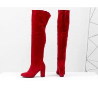 Ботфорты свободного одевания ярко-красного цвета, на невысоком устойчивом каблуке, выполнены из натуральной замши, Коллекция Осень-Зима от Джино Фиджини, М-18127-09