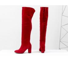 Распродажа! Ботфорты свободного одевания ярко-красного цвета, на невысоком устойчивом каблуке, выполнены из натуральной замши, Коллекция Осень-Зима от Джино Фиджини, М-18127-09 акция