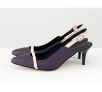 Эксклюзивные туфли с открытой пяткой из натуральной матовой кожи фиолетового цвета с розовой кожаной лентой на носике, на невысокой шпильке, Лимитированная серия, С-1907-06
