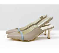 Эксклюзивные туфли с открытой пяткой из натуральной кожи бежевого цвета с голубой кожаной лентой на носике, на невысокой шпильке в виде рюмочки, Лимитированная серия, С-1907-09