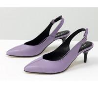 Туфли с открытой пяткой из натуральной кожи лавандового цвета, на невысокой шпильке, Классическая коллекция от Джино Фиджини, С-1909-07