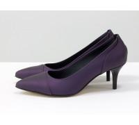 Туфли с зауженным носиком, из натуральной итальянской матовой кожи фиолетового цвета, на невысокой шпильке, Классическая коллекция от Gino Figini, Т-1910-04
