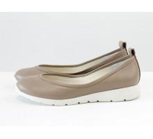Удобные легкие туфли из натуральной кожи бежевого цвета на белой подошве в спортивном стиле adidas, Весенняя коллекция от Джино Фиджини, Т-1918-06