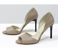 Легкие и удобные летние туфли на шпильке с открытым носиком из натуральной кожи бежевого цвета, Новая коллекция от Джино Фиджини, С-1926-03