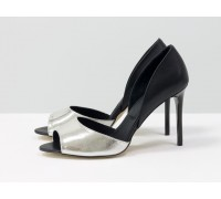 Легкие и удобные летние туфли на шпильке с открытым носиком из натуральной кожи серебряного и черного цвета, Новая коллекция от Джино Фиджини, С-1926-05