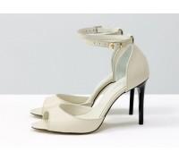 Летние туфли на шпильке, с французским носочком из натуральной кожи молочного цвета, на удобной застежке вокруг щиколотки, от Gino Figini, С-1932-04