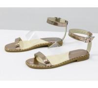 Изящные босоножки из натуральной кожи бронзового цвета, со вставками из мягкого силикона, на низком каблуке, Коллекция Весна-Лето от Джино Фиджини, С-1940-02