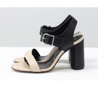 Стильные женские босоножки на каблуке, из итальянской кожи пудрового и черного цвета, на устойчивом невысоком обтяжном каблуке. Новая коллекция от Gino Figini, С-1951-04