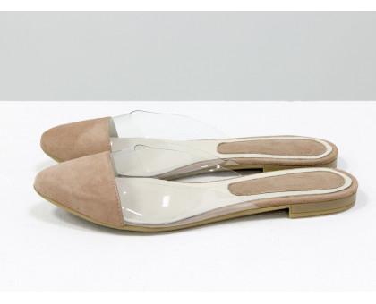 Мюли из натуральной итальянской замши бежевого цвета и прозрачного силикона, на плоской подошве. Новая Летняя коллекция от Джино Фиджини, Т-1957-01