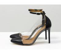 Дизайнерские легкие черные туфли на шпильке, выполнены из натуральной итальянской кожи и вставками из мягкого силикона, Новая Коллекция Весна-Лето 2020-2021 от производителя Gino Figini, С-2008-01