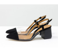 Дизайнерские летние черные туфли на среднем каблуке, выполнены из натуральной итальянской замши и вставками из мягкого силикона, Новая Коллекция Весна-Лето 2020-2021 от производителя Gino Figini, С-2009-01