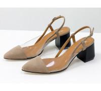 Дизайнерские летние бежевые туфли на среднем каблуке, выполнены из натуральной итальянской замши и вставками из мягкого силикона, Новая Коллекция Весна-Лето 2020-2021 от производителя Gino Figini, С-2009-02