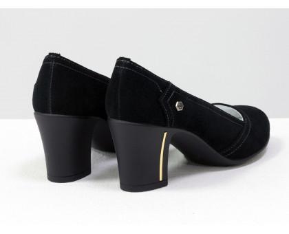 Туфли из натуральной замши черного цвета на не высоком устойчивом каблуке, Т-200-04