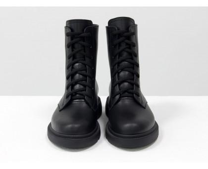Стильные классические черные ботинки на шнуровке и с молнией сзади, на удобной невысокой подошве, новая коллекция от Джино Фиджини, Б-20103-01