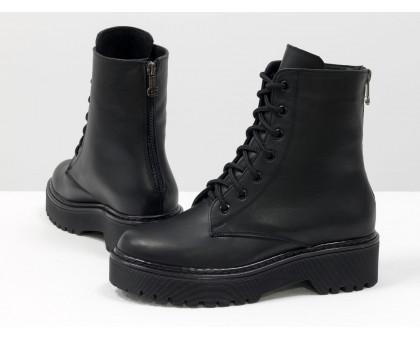 Стильные классические черные ботинки на шнуровке и с молнией сзади, на удобной высокой подошве, новая коллекция от Джино Фиджини, Б-20103-02