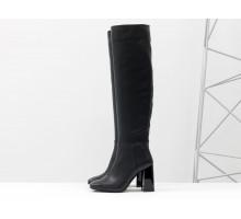 Классические высокие сапоги с квадратным носком, из натуральной итальянской кожи черного цвета, на высоком широком глянцевом каблуке, Новая коллекция от Gino Figini, М-20108-01