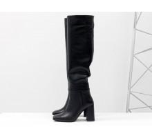 Классические высокие сапоги с квадратным носком, из натуральной итальянской кожи черного цвета, на высоком широком каблуке обтянутым кожей, Новая коллекция от Gino Figini, М-20108-02