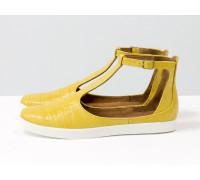 Удобные и легкие летние туфли в эксклюзивной натуральной итальянской кожи желтого цвета с текстурой крокодил  на яркой белой подошве, Новая коллекция от Gino Figini, С-2014-06