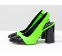 Дизайнерские неоновые туфли на высоком глянцевом каблуке, выполнены из натуральной итальянской кожи салатового и черного цвета, Новая Коллекция Весна-Лето от производителя Gino Figini, С-2015-01