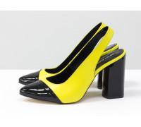 Дизайнерские неоновые туфли на высоком глянцевом каблуке, выполнены из натуральной итальянской кожи желтого и черного цвета, Новая Коллекция Весна-Лето от производителя Gino Figini, С-2015-02