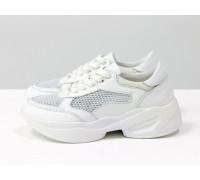 Наша гордость-дышащие белые базовые летние кроссовки из натуральной итальянской кожи белого цвета, с дышащими вставками крупного сечения, на современной подошве в цвет, Новая коллекция от Gino Figini, Т-2017-03