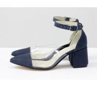 """Дизайнерские летние туфли на среднем каблуке, выполнены из натуральной итальянской кожи """"джинс"""" и вставками из мягкого силикона, Новая Коллекция Весна-Лето 2020-2021 от производителя Gino Figini, С-2020-01"""