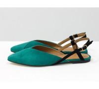 Дизайнерские туфли с удлиненным носиком и открытой пяткой, из натуральной итальянской замши-велюр бирюзового цвета на плоской подошве с небольшим каблуком, С-2030-03