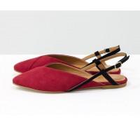 Дизайнерские туфли с удлиненным носиком и открытой пяткой, из натуральной итальянской замши-велюр красного цвета на плоской подошве с небольшим каблуком, С-2030-04