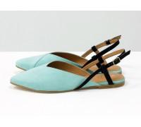 Дизайнерские туфли с удлиненным носиком и открытой пяткой, из натуральной итальянской замши-велюр мятного цвета на плоской подошве с небольшим каблуком, С-2030-05