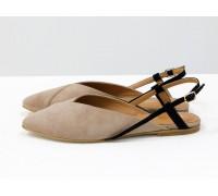 """Дизайнерские туфли с удлиненным носиком и открытой пяткой, из натуральной итальянской замши-велюр бежевого цвета """"капучино"""" на плоской подошве с небольшим каблуком, С-2030-06"""