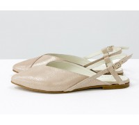 Дизайнерские туфли с удлиненным носиком и открытой пяткой, из натуральной итальянской зернистой кожи пудрового цвета, с лазерным напылением, на плоской подошве с небольшим каблуком, С-2030-07