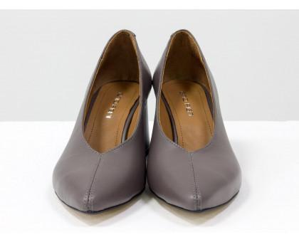 Дизайнерские туфли перчатки (glove shoes) на невысоком обтяжном каблуке, выполнены из натуральной итальянской кожи грязно-сиреневого цвета, Новая Коллекция от Gino Figini, Т-2050-23