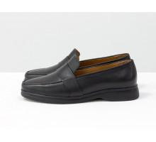 Последняя пара! Классические женские кожаные туфли лоферы черного цвета, на утолщенной подошве, Т-2051-01 акция