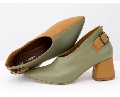Дизайнерские туфли перчатки (glove shoes) с ремешком, на невысоком обтяжном каблуке, выполнены из натуральной итальянской кожи фисташкового и табачного цвета, Новая Коллекция от Gino Figini, Т-2056-14