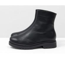 Стильные классические ботинки из натуральной кожи черного цвета на невысоком каблуке, Новая коллекция от Gino Figini, Б-2057-02