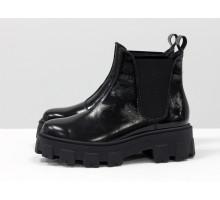 Ботинки свободного одевания в стиле челси, из блестящей натуральной кожи черного цвета, на тракторной подошве, Новая коллекция от Gino Figini, Б-2058-02