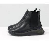 Челси в спортивном стиле из натуральной кожи черного цвета, на черно-серой подошве, Новая коллекция от Gino Figini, Б-2059-01