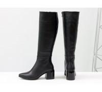 Классические черные сапоги из натуральной итальянской кожи, на невысоком глянцевом каблуке, Новая коллекция от Gino Figini, М-2063-01