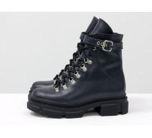 Яркие синие ботинки берцы на шнуровке и на высокой тракторной подошве, новая зимняя коллекция от Джино Фиджини, Б-2065-08