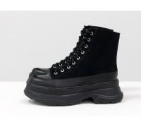 Ботинки на шнуровке черного цвета из натуральной кожи и замши черного цвета, на легкой широкой подошве, Б-2072-01