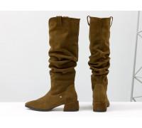 Сапоги  Слаучи (slouch) свободного одевания из натуральной кожи рыже-коричневого цвета, на невысоком квадратном каблуке, Новая коллекция от Gino Figini, М-2083-01