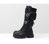 Высокие эксклюзивные ботинки на шнуровке из натуральной гладкой лицевой черной кожи на тракторной подошве с пристегивающимися кармашками на молнии, Коллекция Осень-Зима, Б-2085-01